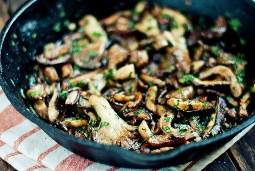... Bright and Happy [Lemon-Herb Wild Mushrooms with Israeli Couscous