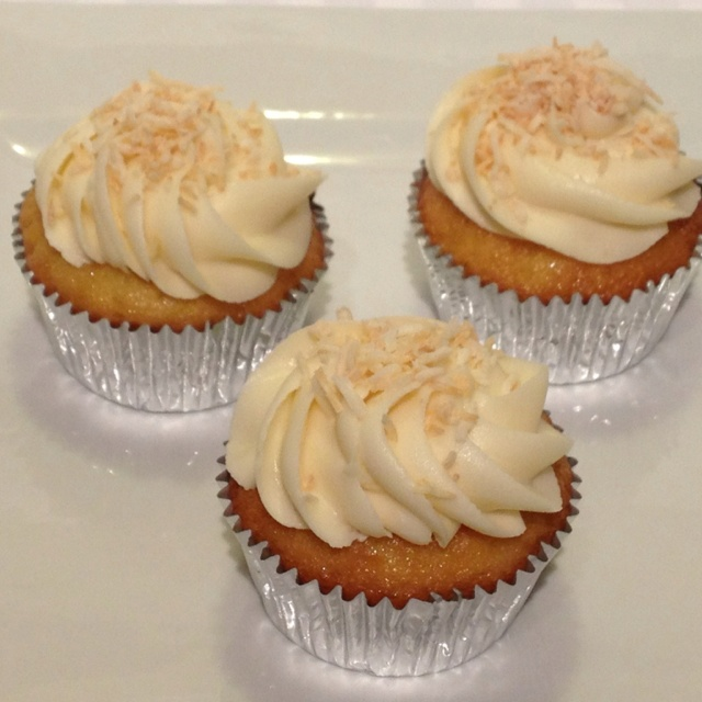 cupcakes! Lemon infused with shredded coconut with cream cheese icing ...
