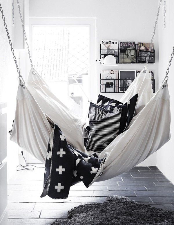 Black and white swing bed