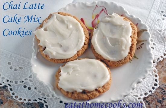 Spiced Chai Latte Cake Mix Cookies with Vanilla Cream Frosting | Reci ...