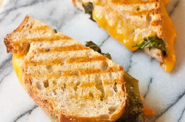 Kale, Grilled Garlic and Cheddar Panini, for my new panini griller!