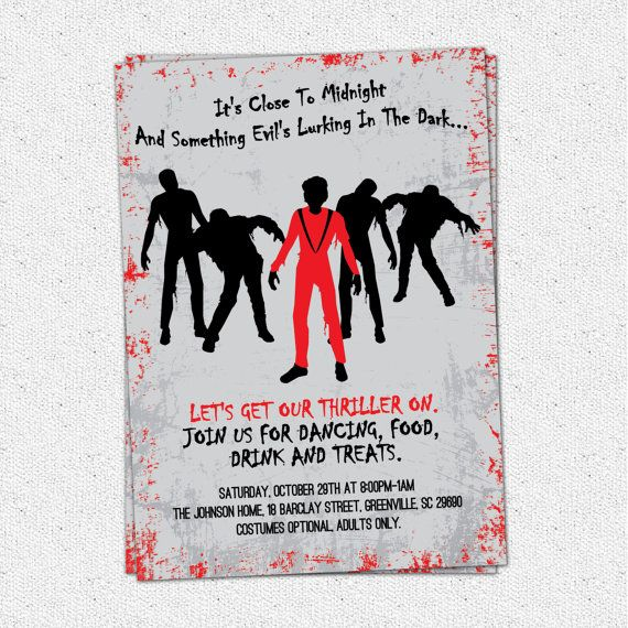 Printable thriller halloween birthday invitation party michael
