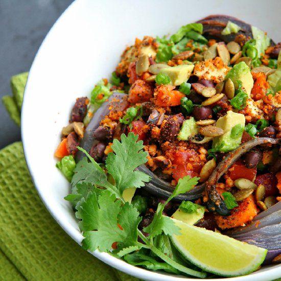 ... red onion amp sweet potato avocado taco walnuts amp chili lime roasted