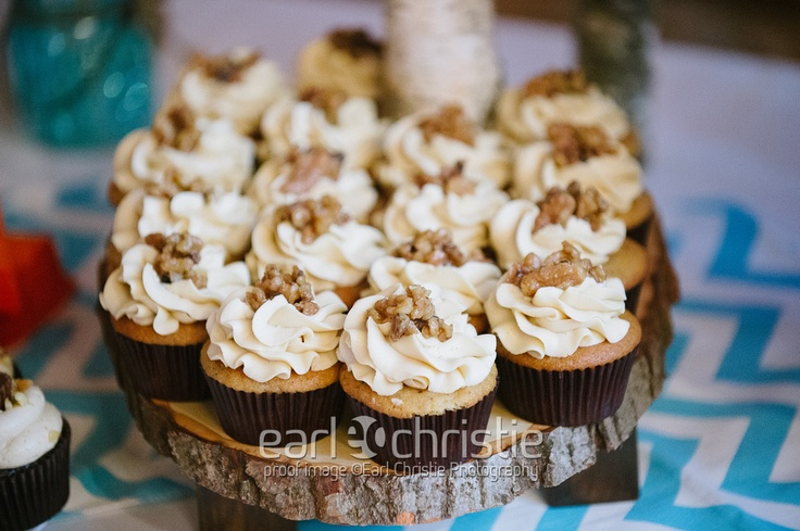 maple walnut cupcakes | Our actual rustic wedding! | Pinterest