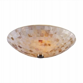 Capri 12 inch nickel capiz shell 2 light flush ceiling light for Shell ceiling light fixtures