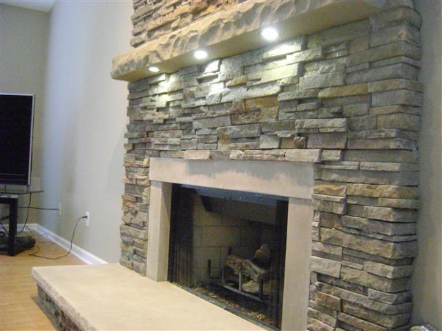 Lights Fireplace Built Ins Stone Pinterest