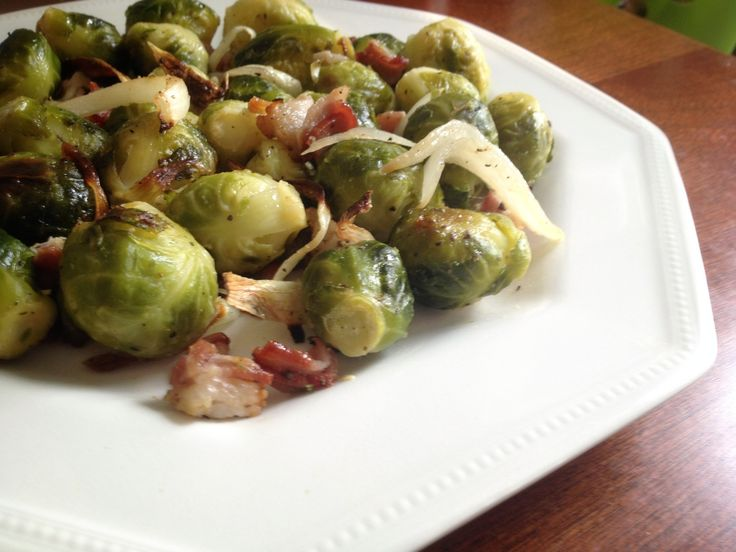 Roasted Brussels Sprouts with Bacon and Apple Cider Vinegar | on the ...