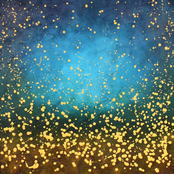 original abstract painting blue yellow stars night sky ...