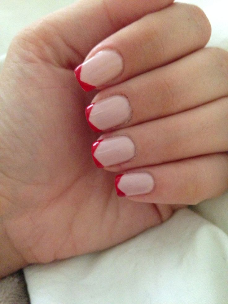Red French Gel Manicure