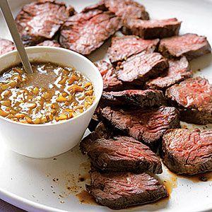 Hanger Steak with Green-Garlic Sauce