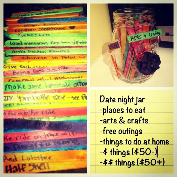 date night jar date ideas pinterest
