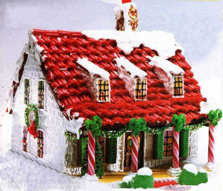 Gingerbread House Patterns.....love this one with the red roof! #christmas