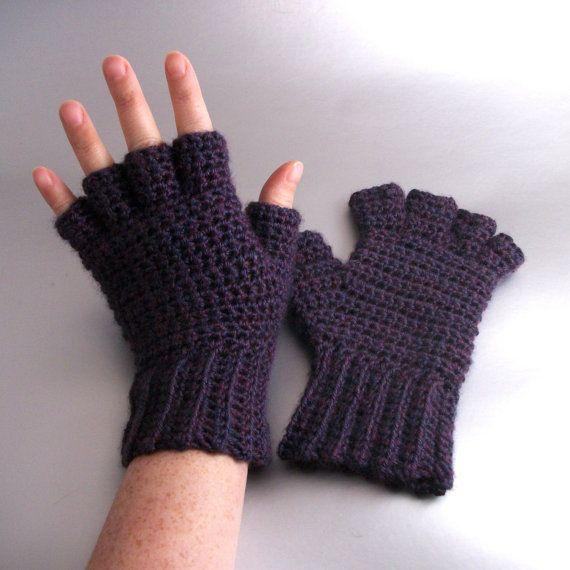 Plum Mist Heather - Half Finger Crochet Gloves