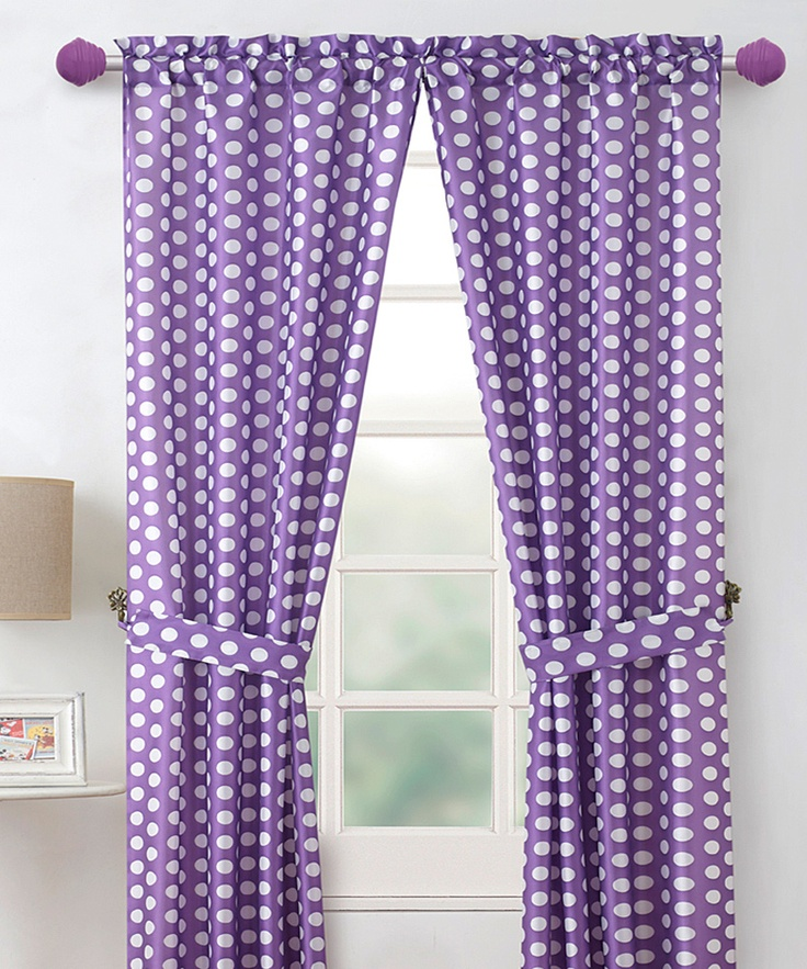 Polished Nickel Shower Curtain Rod Purple Polka Dot Table Cover