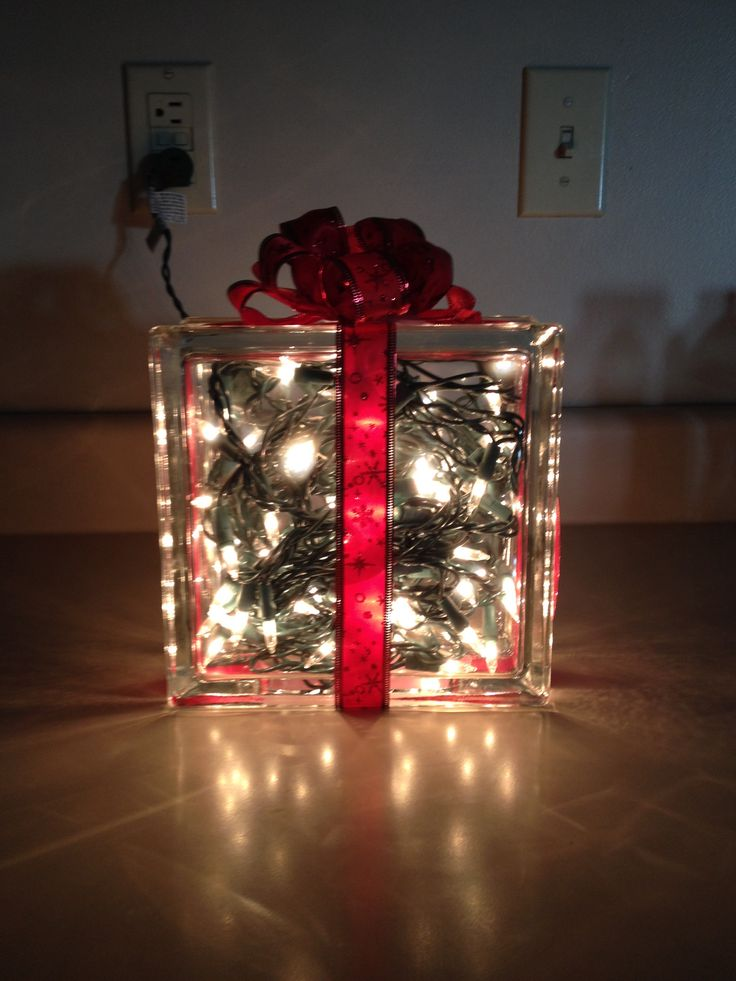 Glass block decoration christmas pinterest for Glace decoration