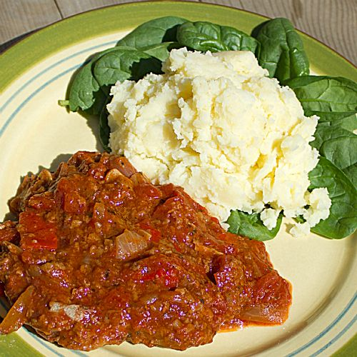 Swiss Steak - braised cube steak in stewed