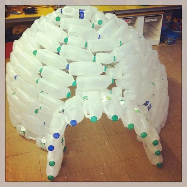 Pin by on cool recycled stuff pinterest for How to build an igloo out of milk jugs