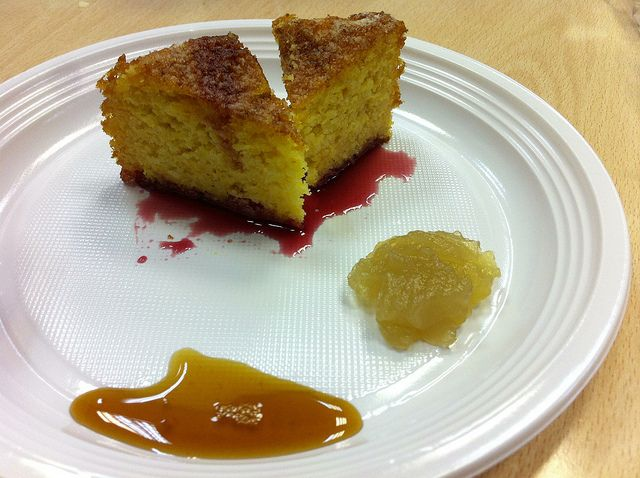Mandarine cake in syrups of pomegranate with Malvazija jelly and ...
