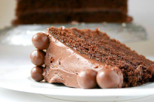 Chocolate Malt Cake - for dad's birthday (put layer of vanilla malt in ...