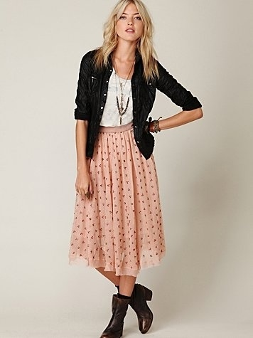 Free People FP New Romantics Mesh Embroidered Tea Length Skirt at Free People Clothing Boutique - StyleSays