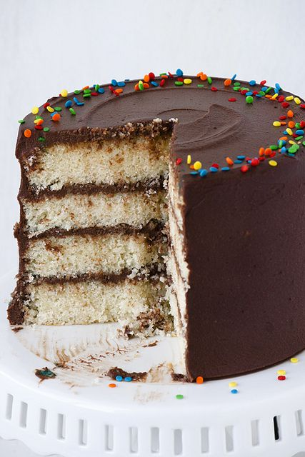 Yellow Cake Chocolate Sour Cream Frosting - old time favorite