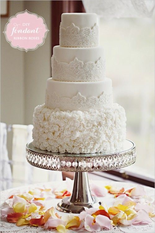 Fondant Lace Wedding Cake My wedding day... Pinterest