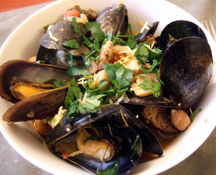 Steamed Mussels and Chorizo in Hall's Kitchen Chickpea, Tomato ...