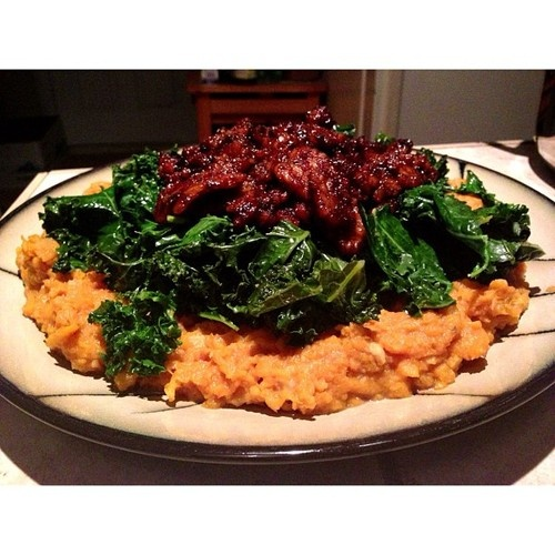... walnuts and coconut topped with sautéed garlic kale and spicy maple