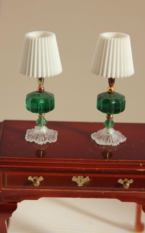 Matching Table Lamps Miniature Dollhouse Decor Dark Green  these look like toothpaste caps for shade & beads for the lamp no instructions but easy to follow