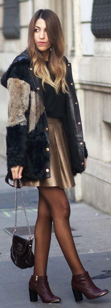 golden skirt and winter coat