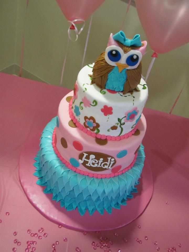 baby shower owl cake not crazy about the owl but cake is really cute