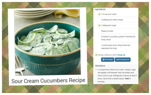 Sour Cream Cucumbers | Cooking/Recipes/Food-Ideas | Pinterest