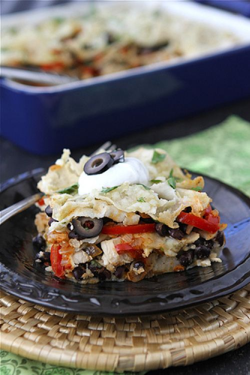 Mexican Chicken Taco Casserole with Olives, Peppers & Queso Fresco ...