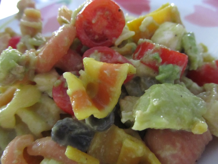 ... pasta with avocado, lime juice, mozzarella, plum tomatoes and some