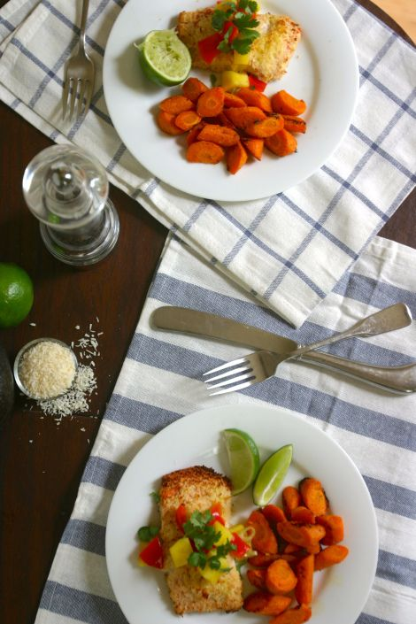 paleo coconut crusted salmon and ginger roasted carrots