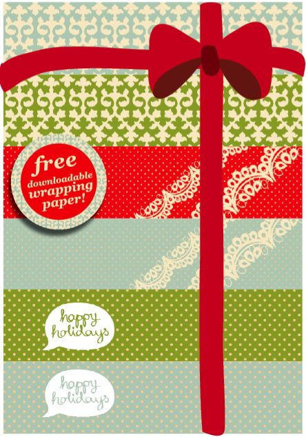 Free downloadable, printable Christmas wrapping paper.