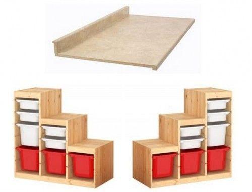 Ikea Malm Bett Niedrig Schwarz ~ My Ikea hack Work bench made from Ikea Trofast storage units