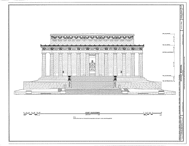 Front Elevation With Arch : Lincoln memorial front elevation arch monuments