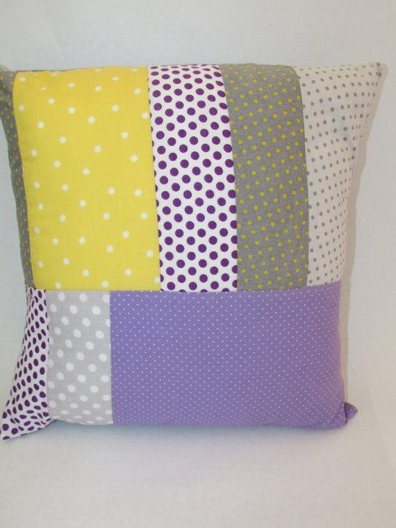 Patchwork Pillow Cover- Yellow  Gray  and Purple Polka DotsYellow And Gray Polka Dots