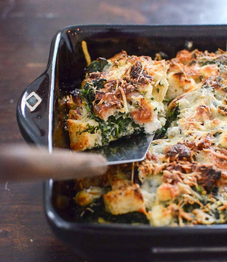 savory bread pudding with spinach, chevre, smoked ham, and red pepper ...