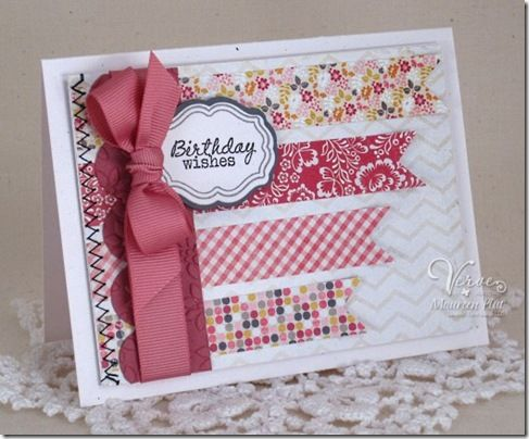 Birthday card by Maureen Plut using the Borderline set from Verve Stamps.