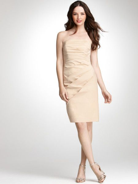Champagne Bridesmaid Dresses Knee Length Sheath
