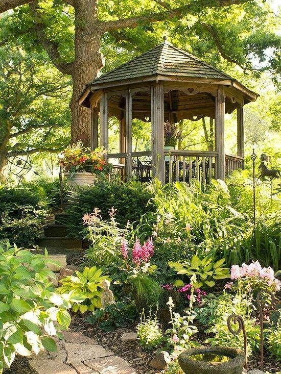 Gazebo In The Beautiful Garden Gardens Pinterest