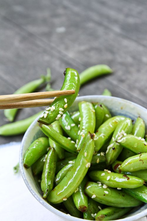 Spicy sesame sugar snap peas | Nutritious is Delicious | Pinterest