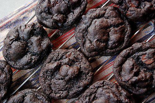 Dark Chocolate Cookies with Sour Cherries