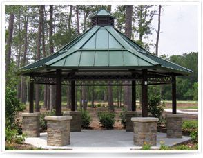 Stone column bases varied roof pitch garden structures Gazebo roof pitch