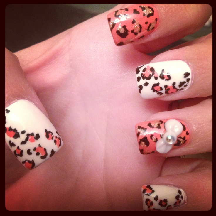 Cheetah coral colored nail art | Coral nail art | Pinterest