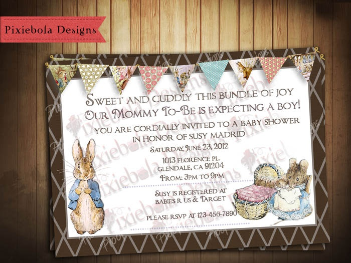 peter rabbit baby shower invitation or for all occasions via