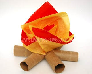 Recycling paper for kids: Toilet paper tube mini- campfires  