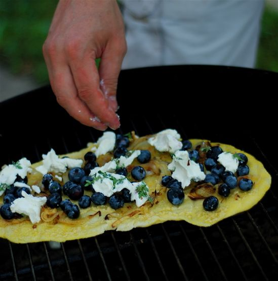 Savory Grilled Blueberry Pizza with Chevre, Lemon Thyme & Fried Onions